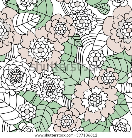 Seamless pastel scandinavian retro garden flowers sweet blossom and leaves illustration background pattern in vector - stock vector