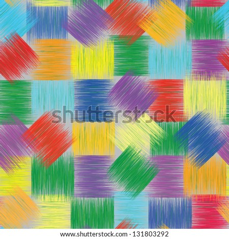 Seamless patchwork colorful pattern with grunge  striped squares - stock vector