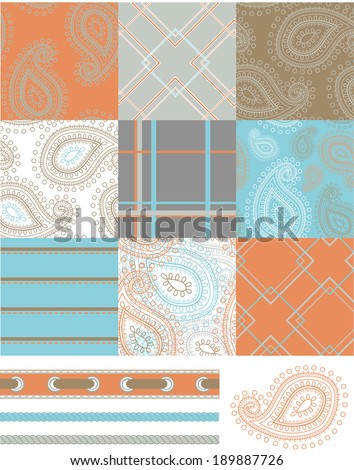 Seamless Patchwork Paisley Patterns and trims. Use to print onto fabric or paper craft projects. - stock vector