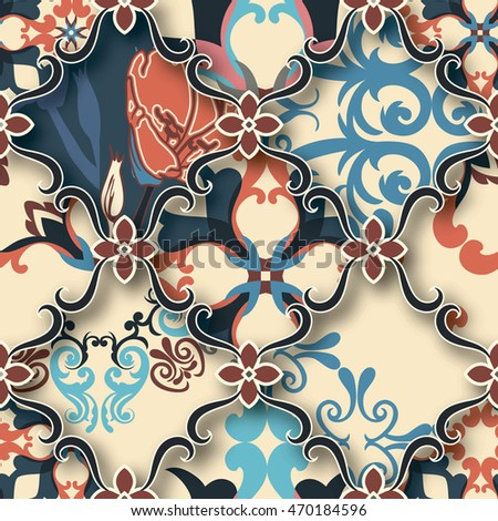 Seamless patchwork pattern from BLUE-ORANGE-BEIGE style Moroccan tiles, ornaments. Can be used for wallpaper, surface textures, textile, cover etc. Large pattern