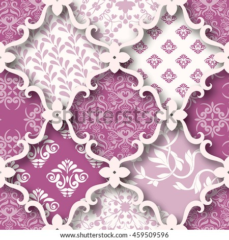 Seamless patchwork pattern from pink tiles, ornaments. Can be used for wallpaper, surface textures, textile, cover etc.