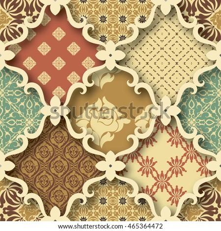 Seamless patchwork pattern from RETRO blue--red-brown-beige style Moroccan tiles, ornaments. Can be used for wallpaper, surface textures, textile, cover etc.