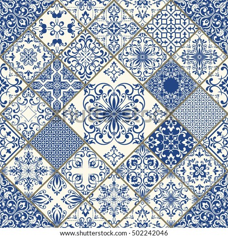 Seamless patchwork tile in blue and white colors vintage multicolor