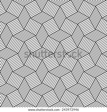 Seamless pattern. Abstract striped texture of black and white lines. 3D abstract surface. - stock vector