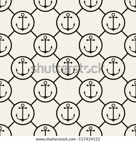 Seamless pattern. Abstract texture with anchors and chains. Vector stylish monochrome print - stock vector