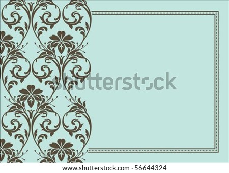 Seamless pattern and decorative frame. Pattern is included as a seamless swatch. - stock vector