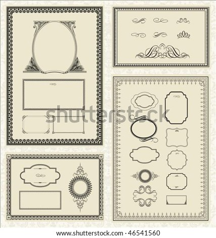Seamless pattern and decorative frame set. Pattern is included as a seamless swatch. - stock vector