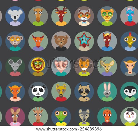 Seamless pattern animals faces circle icons set in Trendy Flat Style. zoo infographics design. Vector - stock vector
