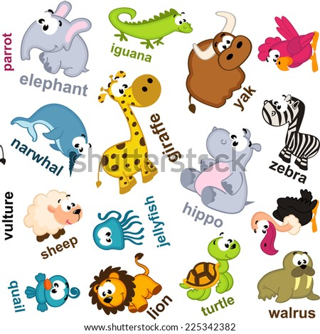 seamless pattern animals - vector illustration, eps - stock vector