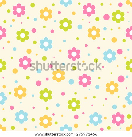 Seamless pattern. Baby background with colorful flowers and circles. Paper for scrapbook or background. Vector illustration.The rose background is removed  - stock vector