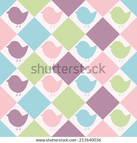 Seamless pattern. Baby background with colorful silhouettes birds and rhombs. Paper for scrapbook or background. Vector illustration.The rose background is removed.  - stock vector