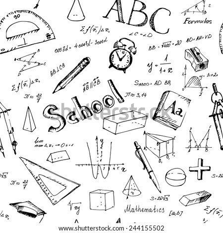 Seamless pattern back to school. Hand drawn school items. Vector illustration.