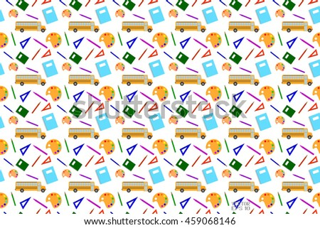 Seamless Pattern Back to School. Set of School Supplies, Poster in a Flat Style. Vector Illustration