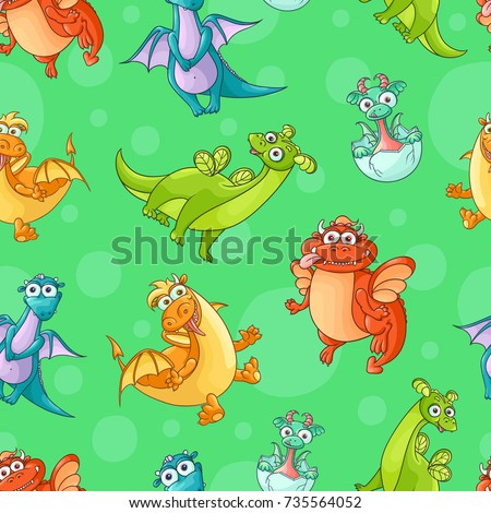 Seamless pattern, backdrop design with funny hand drawn cartoon dragon characters, vector illustration on colorful background. Funny comic, cartoon style dragon characters, seamless pattern
