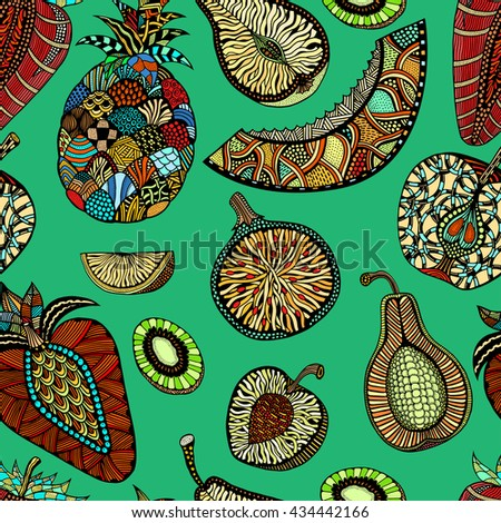 Seamless pattern backgroud of fruit. Plant. Exotic fruit. Line art. Colored Hand drawn. Doodle vector illustration. - stock vector