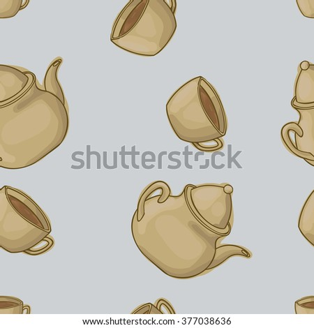 Seamless pattern background cup of tea and teapot. Cup of tea and teapot vector. Cup of tea and teapot watercolor. - stock vector