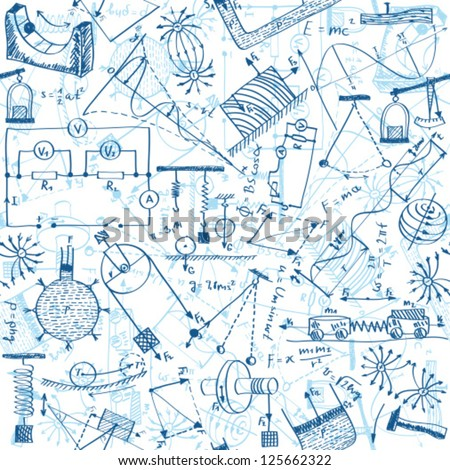 Seamless pattern background - illustration of physics drawings, doodle style - stock vector