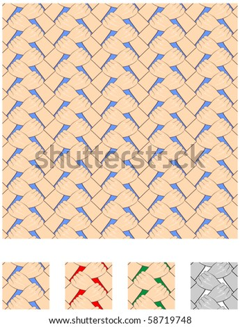 Seamless pattern background of hands holding each other at the wrist - stock vector