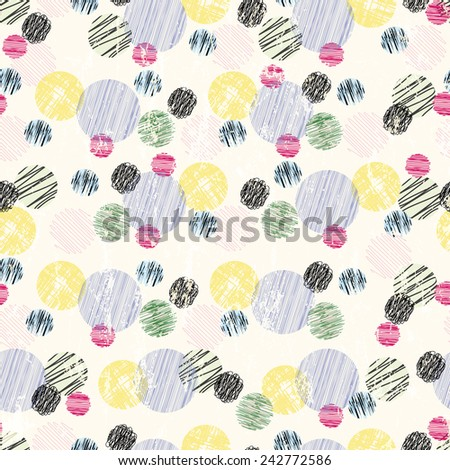 seamless pattern background, polka dots, with strokes and splashes, retro style - stock vector