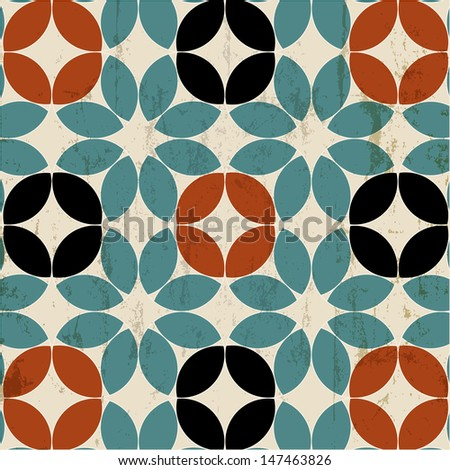 seamless pattern background, retro/vintage style, mosaic - stock vector