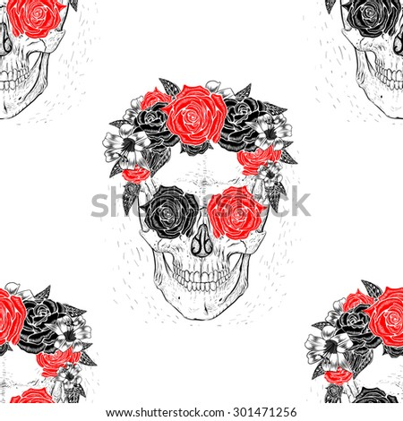 Seamless pattern background skull with flowers ,rose in eyes.White background. - stock vector