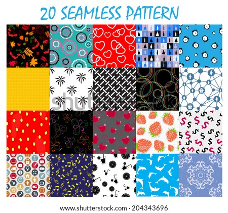 Seamless Pattern Background Vector Set - stock vector