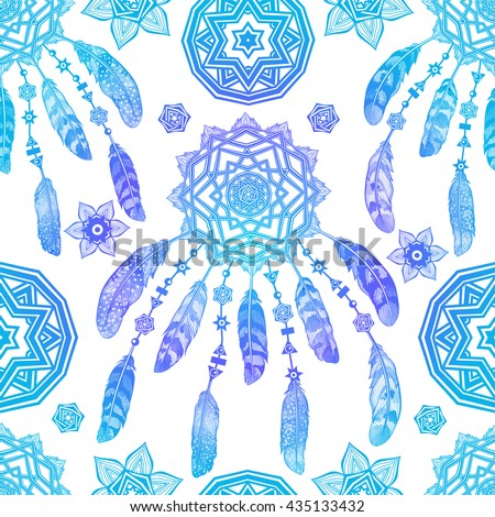 Seamless pattern background with blue feathers. Vector illustration. - stock vector