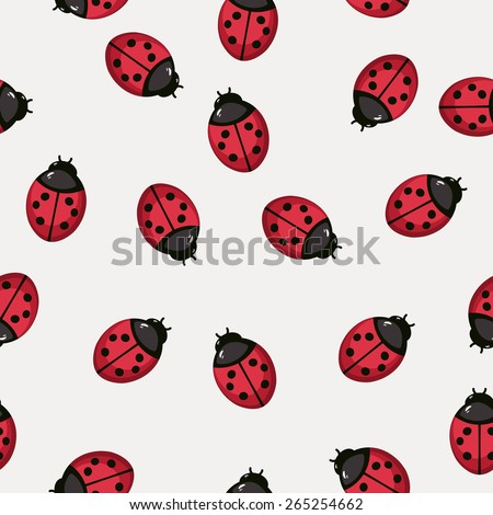 Seamless pattern background with ladybugs. Stylized textile vector illustration in eps 8 - stock vector