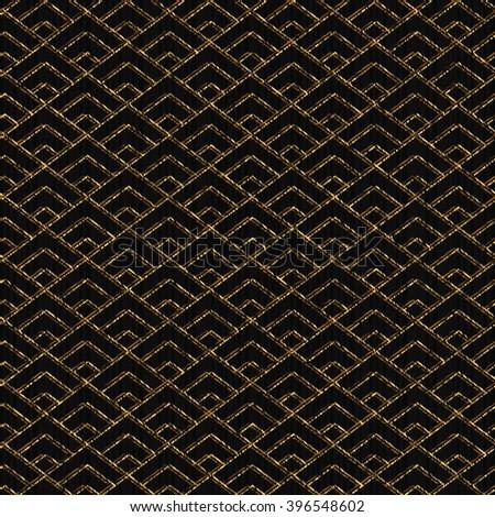 Seamless pattern based on japanese sashiko motif. Golden color. Sashiko with triangles. Diamond motif. Abstract geometric backdrop. For decoration or printing on fabric. - stock vector