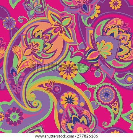 Seamless pattern based on traditional Asian elements Paisle. Vintage style. - stock vector