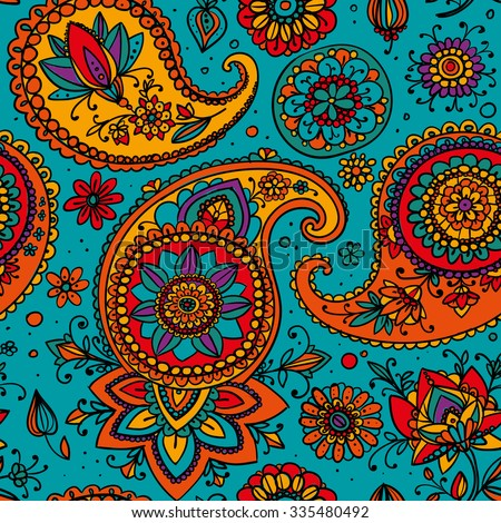 Seamless pattern based on traditional Asian elements Paisley. Bright blue, orange, pink.