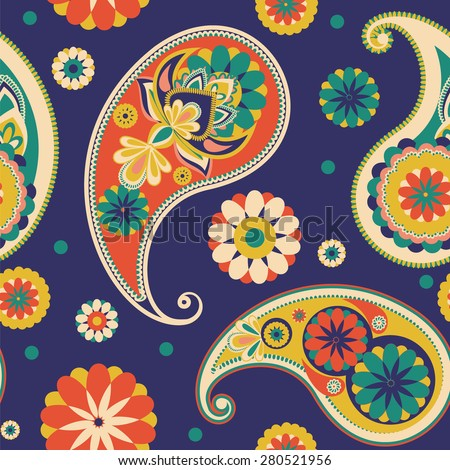 Seamless pattern based on traditional Asian elements Paisley. Dark blue, pink, green - stock vector