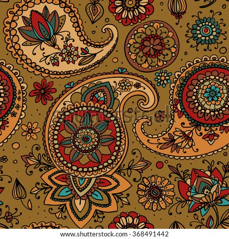 Seamless pattern based on traditional Asian elements Paisley. Gold tone. - stock vector