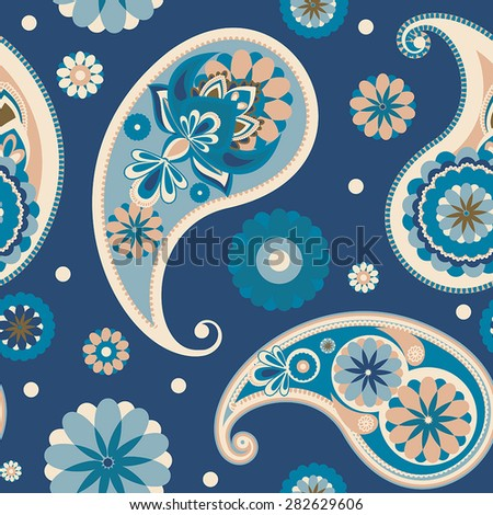 Seamless pattern based on traditional Asian elements Paisley. Pastel blue. - stock vector
