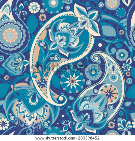 Seamless pattern based on traditional Asian elements Paisley. Pastel blue. Sophisticated pattern. - stock vector
