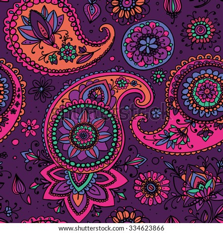 Seamless pattern based on traditional Asian elements Paisley. Purple and pink. - stock vector