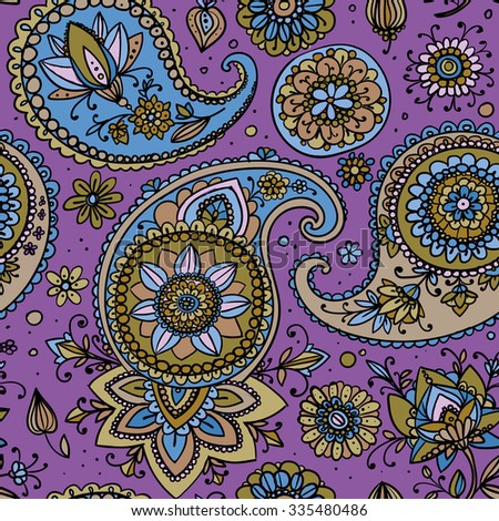 Seamless pattern based on traditional Asian elements Paisley. Purple tones. - stock vector