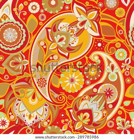 Seamless pattern based on traditional Asian elements Paisley. Red and gold. - stock vector