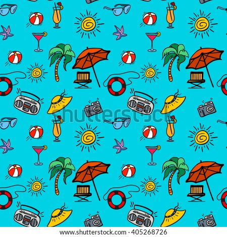 "Seamless pattern ""beach holidays"" with hand drawn elements. Vector seamless pattern for web, mobile and print - stock vector"