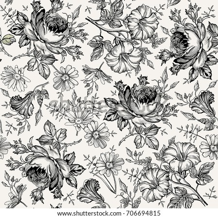 Seamless Pattern Beautiful Blooming Realistic Isolated Flowers Vintage Black White Background Chamomile Rose