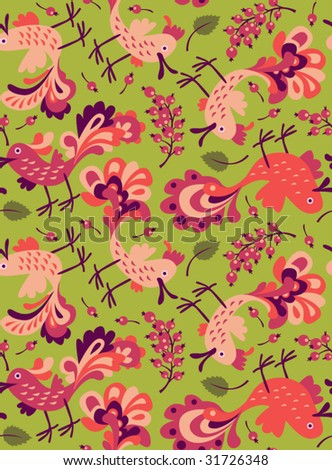 seamless pattern: birds and berries - stock vector