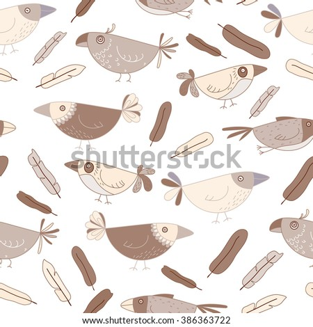 Seamless pattern Birds on a white background, pastel colors, feathers, parrot, abstract, bird hand-drawing, child's drawing