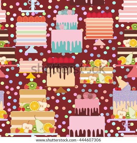 Seamless pattern Birthday, valentine's day, wedding, engagement. Set sweet cake, Cake Stand, fresh fruits berries, chocolate icing sprinkles, cake pops, pastel colors on brown background. Vector - stock vector