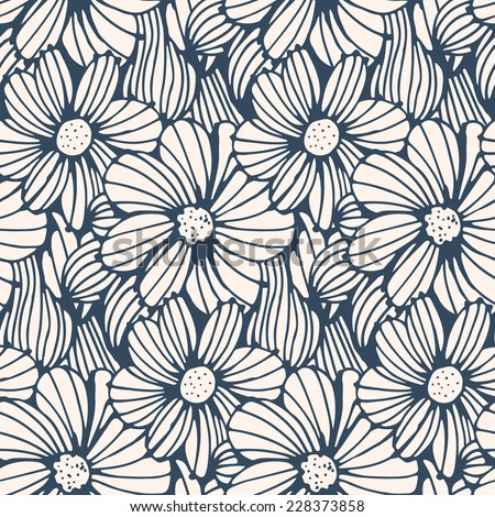 Seamless pattern black white flower background vector stock vector seamless pattern black and white flower backgroundctor illustration mightylinksfo