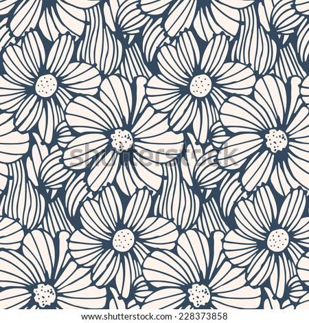 Seamless pattern black white flower background vector stock photo seamless pattern black and white flower backgroundctor illustration mightylinksfo