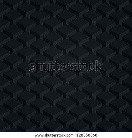 Seamless pattern black background. Dark surface with 3-D effect cubes in perspective. Old retro wallpaper with repetition geometric shape. Vector illustration clip-art web design elements in 8 eps