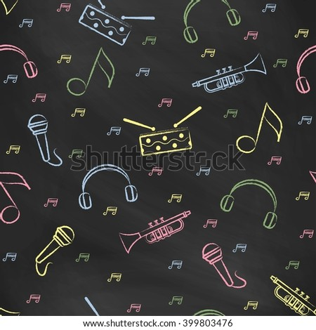 Seamless pattern black chalk board with color children's chalk drawings. Hand-drawn style. Seamless vector wallpaper with the image of  drum, microphone, pipe, headphones and note - stock vector