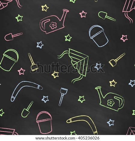Seamless pattern black chalk board with color children's chalk drawings. Hand-drawn style. Seamless vector wallpaper with the image of kite flying, head, boomerang, star, bucket, shovel, rake - stock vector