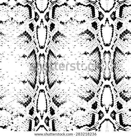 Seamless pattern black on white background. Snake skin texture. Vector illustration - stock vector