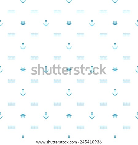 Seamless pattern.  Blue anchors and steering wheels on white background - stock vector